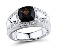 Men's Classic Sterling Silver set with Smoky Quartz and Diamond Ring