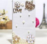 handgefertigte Diamant-Krone Perlenblumen-PU-Leder Ganzkörper-Fall mit Ständer für Samsung Galaxy Note 2/3/4/5