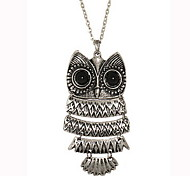 Metal Connection Retro Owl Sweater Chain Length Necklace