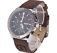 Men's Fashion Dial Brown Leather Strap Quartz Watch Wrist Watch Cool Watch Unique Watch