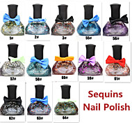 1pcs 12ML Tribal Color Bow Series Sequins Nail Polish