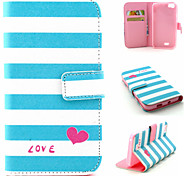 Stripe Pattern Flip Card Leather Phone Case for Wiko LENNY