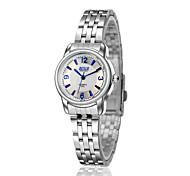 dames de montres à quartz étanche montre et de loisirs avec la surface de la lumière bleue de bandes d'acier