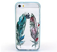 2-in-1 Blue Red Feather Pattern TPU Back Cover with PC Bumper Shockproof Soft Case for iPhone 5/5S