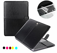 Fashion 2 in 1 PU Leather Laptop Case Cover For Macbook Pro  13''15'' with Retina + Transparent Keyboard Cover Protecter