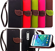 KARZEA™ Leaf Snap PU Full Body Case with TPU Back Cover Stand for MOTO X Style (Assorted Colors)