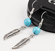 Top Sale Bohemia Vintage Wholesale Women Alloy Leaver Turquoise Drop Earring