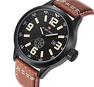 NAVIFORCE Men's Date Week Display Genuine Leather Strap Sports Watches Waterproof