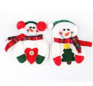 2pcs muñeco de nieve navidad navidad platería titular de la cena fiesta de cuchillería decoración vajilla (color al azar)