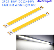YouOKLight® 2PCS 18W 1700lm 6500K COB LED White Light Bar - Silver + Yellow (12~14V)