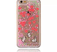 Three Rabbits Pattern Sparkle Stars Quicksand Liquid PC Hard Phone Case for iPhone 5/5S