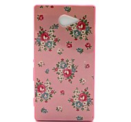 2-in-1 Blue Flower Pattern PC Back Cover with PC Bumper Shockproof Hard Case for Sony Xperia M2