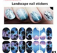 1pcs Luminous Landscape Nail Stickers 1#-6#