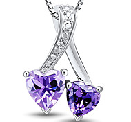 Fashion Sterling Silver Platinum-Plated with Amethyst and Diamonds Women's Pendant with Silver Box Chain