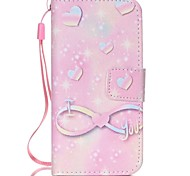 Pink Hard Pattern PU Leather Material Flip Card Phone Case for iPhone 5C