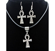 Cross Animal Pendant Silver Necklace & Earrings Jewelry Set