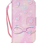 Pink Pattern PU Leather Material Flip Card Phone Case for iPhone 4/4S