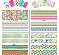 12pcs Line Design Fluorescent Color 3 d Nail Stickers
