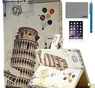 lexy® torre pendente di pisa modello pu caso del basamento del cuoio di vibrazione con la protezione dello schermo e lo stilo per ipad