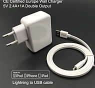 CE certified EU Travel Wall Charger 1A/2.4A Double output + MFi Certified Lightning cable For iPhone 6S Plus