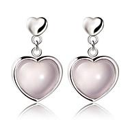 Quartz Natural Soulmate Heart-shaped Opal Sterling Silver Stud Earrings