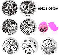 - Finger / Zehe - Andere Dekorationen - Metall - 10pcs nail plates+ 1set nail stamper and scraper Stück - 5.5cm for dia cm