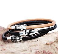 Men Bracelet European Style Magnet Buckle Leather Bracelet