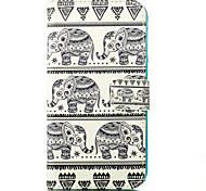 éléphant carte de motif étui en cuir de support pour Samsung Galaxy J1 / J5
