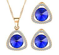 Hot 5 Colors Zircon Triangle Pendant Necklace Stud Earring Wedding Jewelry Set(Assortd Color)
