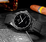 Men's Fashion Black Rubber Strap Quartz Casual Watch