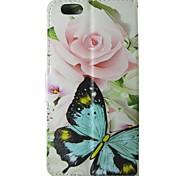 rose papillon modèle étui en cuir flip avec bouton pression magnétique et lecteur de carte pour l'iphone 6 / 6s cas 4.7 pouces