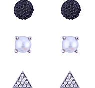Stud Earrings Crystal Pearl Crystal Imitation Pearl Alloy Fashion Black Jewelry Party Daily Casual 1set