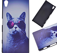 Glasses Cat Pattern PC Hard Cover Case for Sony Z5