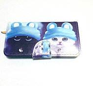 Two Kittens Painted PU Phone Case for iphone5/5S