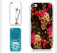 Crâne lettres de fleurs modèle PC Phone couverture arrière cas pour iphone5c