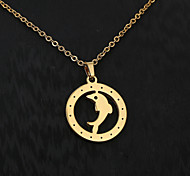 European  fashion personality titanium steel gold pattern necklace 6- Dolphins  Party / Daily / Casual 1pc
