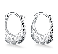 Hollow Moon White Silver-Plated Drop Earrings (White)(1Pair)