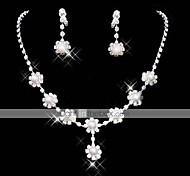 Lucky Doll Women's All Matching 925 Silver Plated Imitation Pearl Zirconia Long Tassel Necklace & Earrings Jewelry Sets