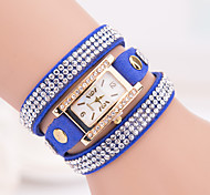 Woman's Watches The New Korean Fashion Square 3 Drill 3 Times Around All-Match Ms. Bracelet Watch Fashion Bracelet Watch