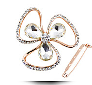 Fashion Clover Crystal Brooch