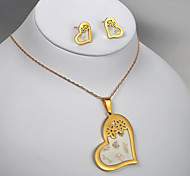European and American fashion titanium steel golden peach heart plum earrings Necklace Set