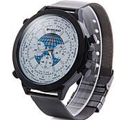 moda aço discagem grande relógio pulseira de quartzo dos homens