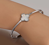 European  fashion titanium steel silver bracelet Clover Cuff Bracelets Wedding / Party / Daily / Casual 1pc