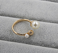 Fashion Women  Pearl With Metal Ball Adjustable Ring