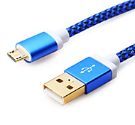 1M Aluminum+PVC USB2.0 Data Cable for Samsung Mobile Phone (Assorted Colors)