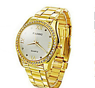 Mode für Männer / Frauendiamantzifferblatt gold Stahl analoge Quarz-Armbanduhr Unisex Uhren