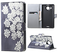 White Flowers  Wallet PU Leather Stand Case for  Microsoft Nokia Lumia 950XL N950XL