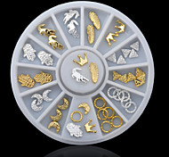24PCS Silver and Gloden Nail Jewelry Decoration