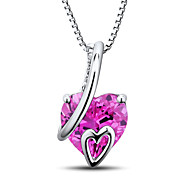 Women's Heart Shape Sterling Silver set with Created Pink Sapphire and Natural Diamond  Pendant with Silver Box Chain