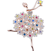 Dance Ballet Girl Flower Rhinestone Brooch